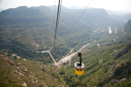 Cable Car Traveling to Montserrat near Barcelona, Spain
