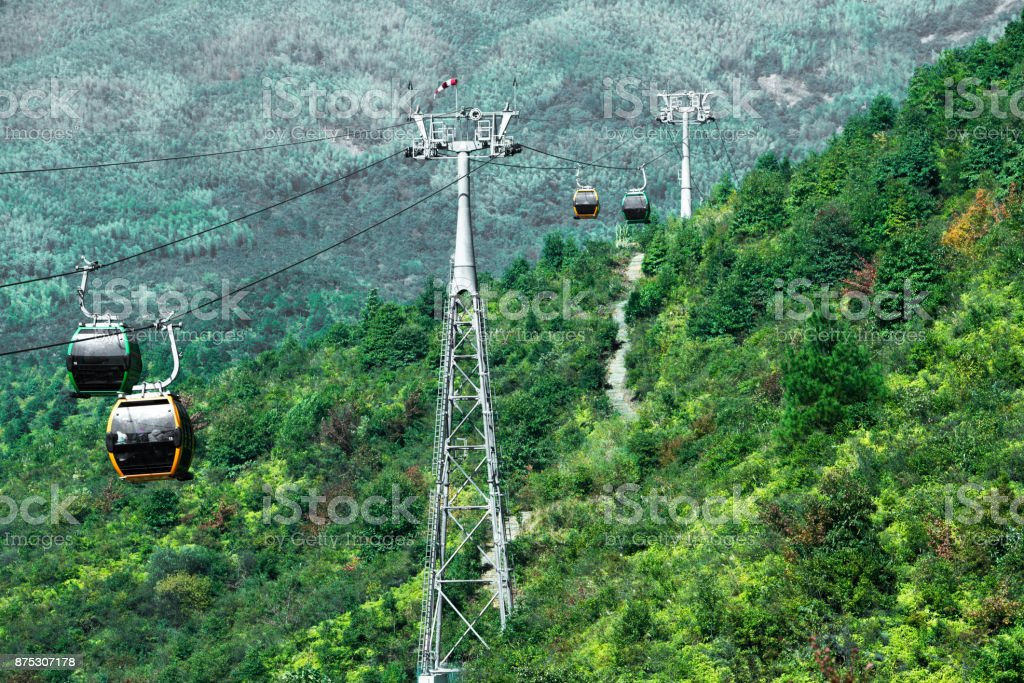 Cable Car way to mountains stock photo