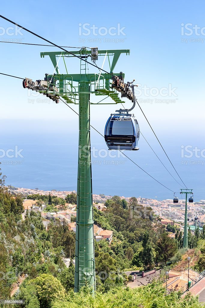 Cable car with cabins in landscape of Madeira between Funchal and...