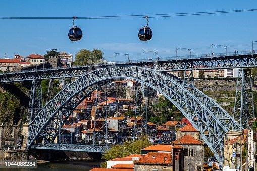 Cable cars of Teleferico de Gaia above Dom Luis I Bridge and Douro river in Porto, Portugal.