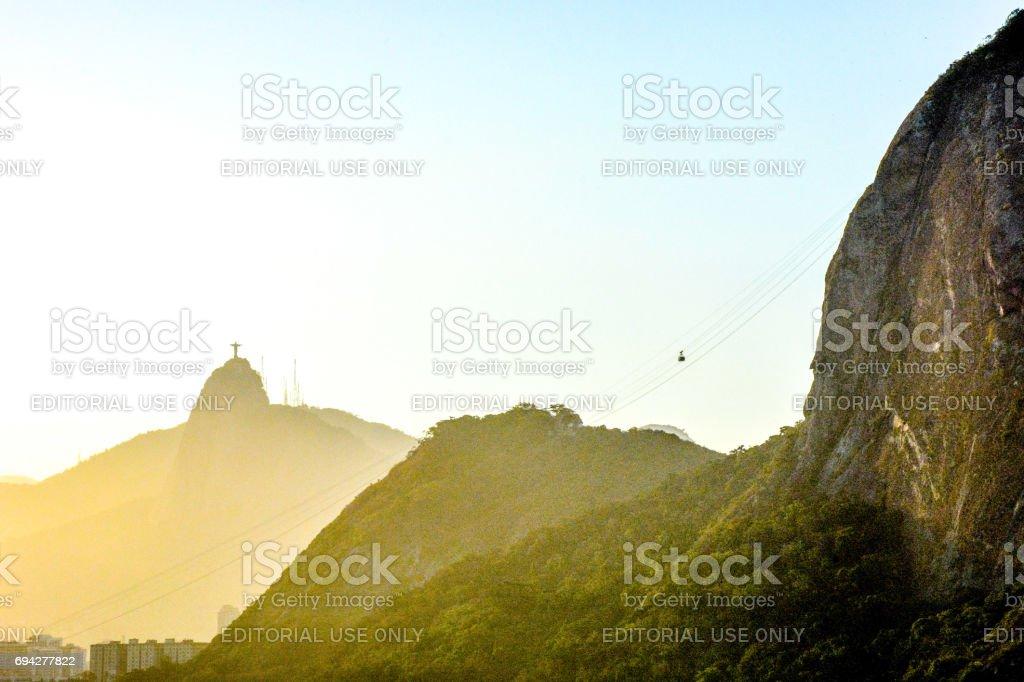 Cable cars at the Pão de Açucar, Rio de Janeiro, Brazil stock photo