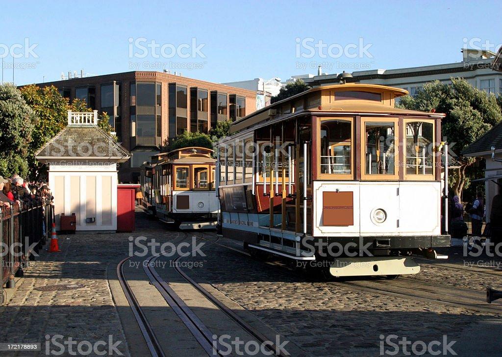 Cable Cars At Turnaround Station, San Francisco royalty-free stock photo