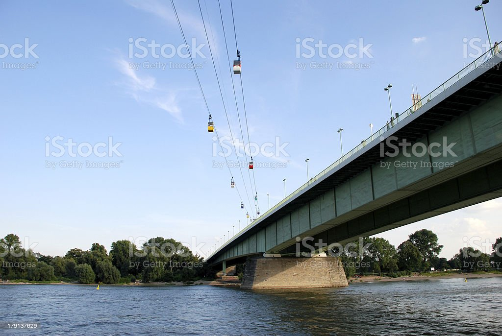 Cable cars cross the Rhine in Cologne, Germany stock photo
