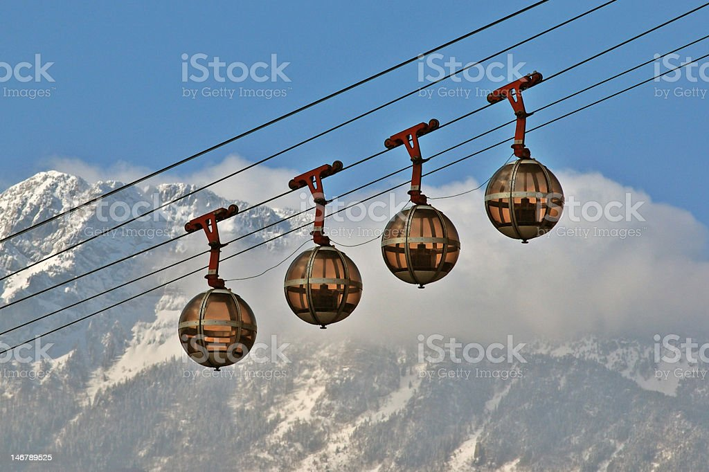 Cable cars in Grenoble stock photo