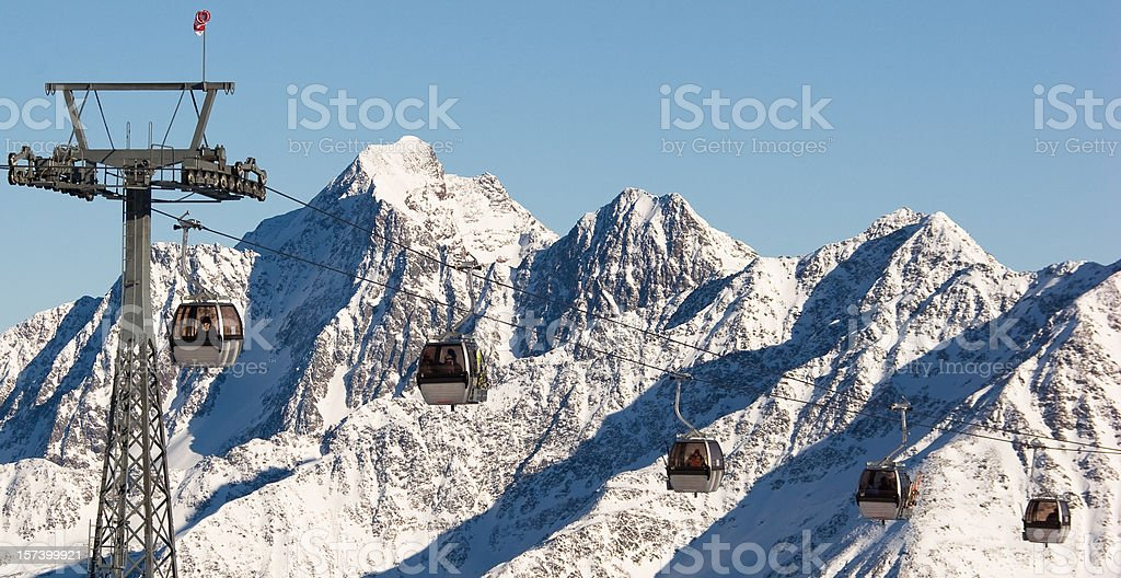 Cable -Cars in Stubai Glacier royalty-free stock photo