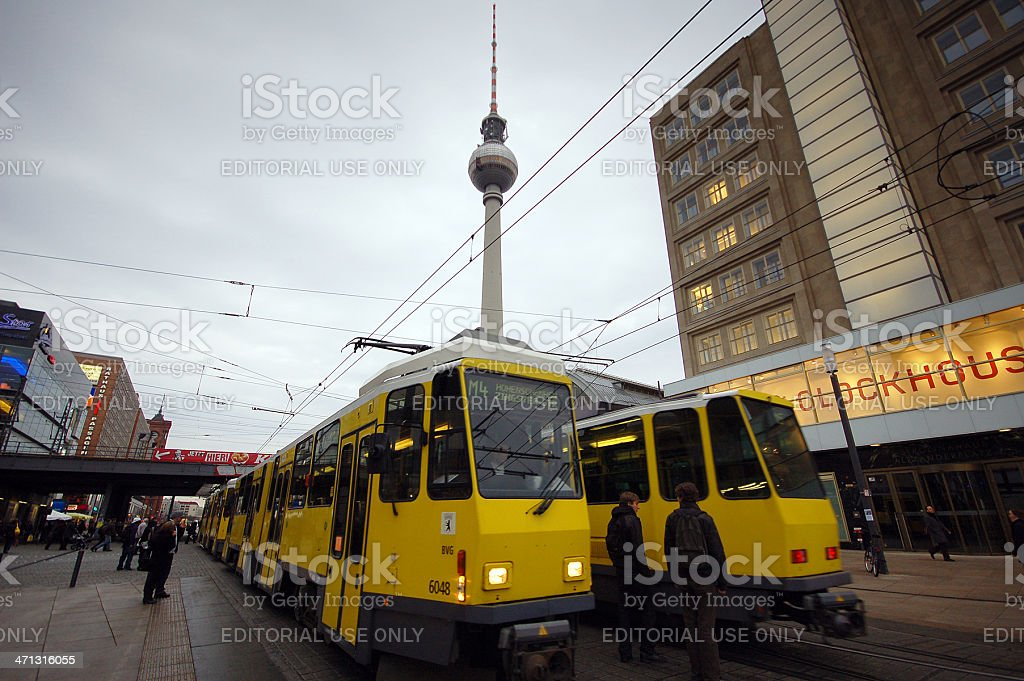cable cars passing by Alexanderplatz in Central Berlin stock photo