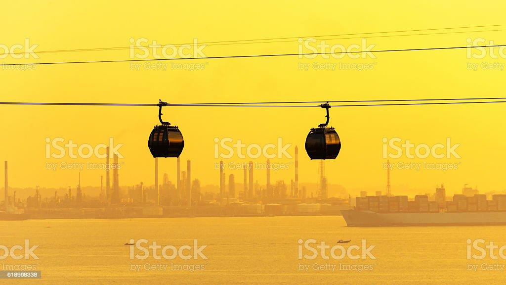 Cable cars transportation to sentosa island stock photo