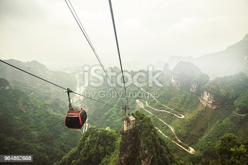 cable cars going up to the tianmen mountain in the Zhangjiajie National Forest Park
