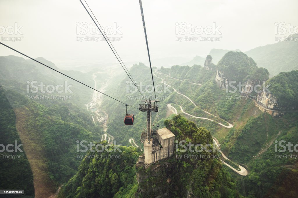 cable cars up to the tianmen mountain royalty-free stock photo