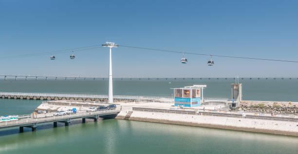 cable cars with the vasco da gama bridge in the background - resultados lisboa imagens e fotografias de stock