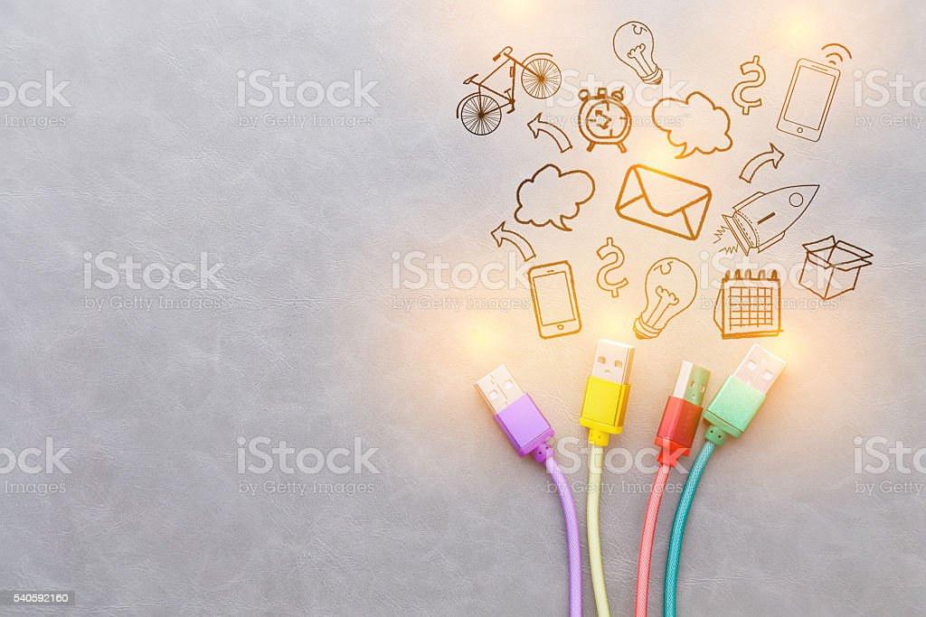 USB Cable communication icon concept stock photo