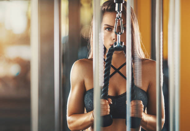 Cable extension workout. stock photo