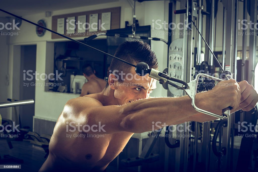 Cable fly exercise stock photo