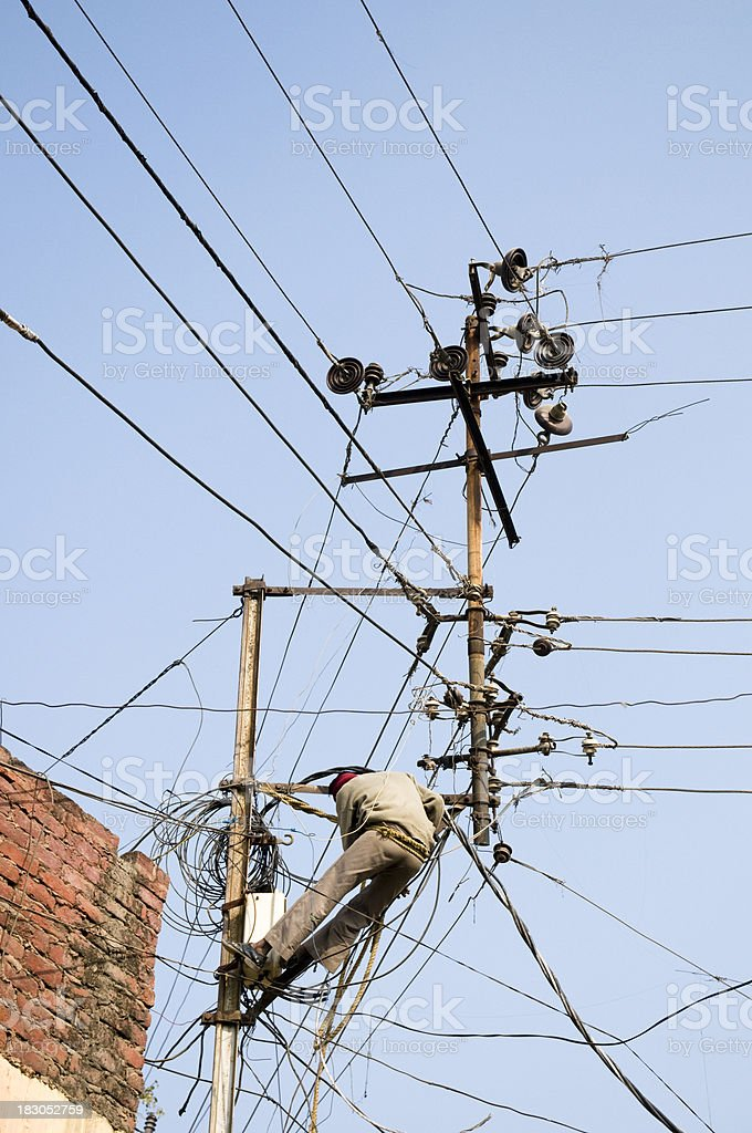 Cable guy in India stock photo
