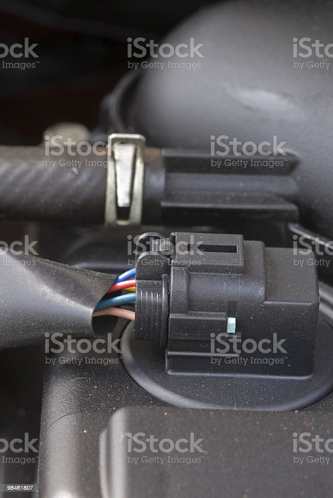 Cable in the engine compartment royalty-free stock photo