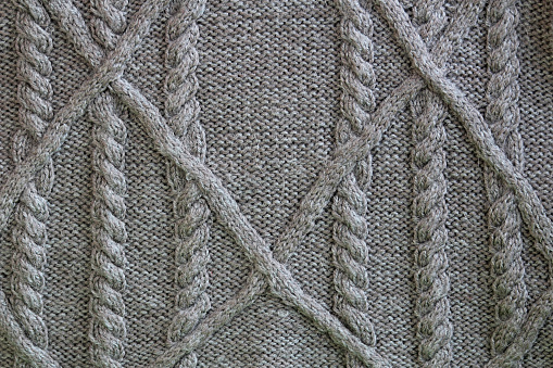 Cable Knit Aran Gray Background Stock Photo - Download Image Now - iStock