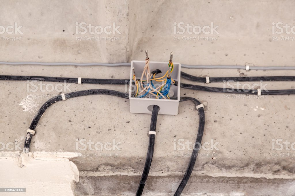 Cable Laying Ceiling Electrical Wires On Wall Wiring Replacement Connecting  Light In Flat Or Office Professional Installation Bulb Electrical Outlet  Cable Wires Switches Insulation Stock Photo - Download Image Now - iStockiStock