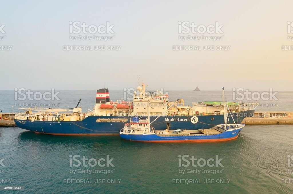 Cable Laying Ship In Cape Verde stock photo