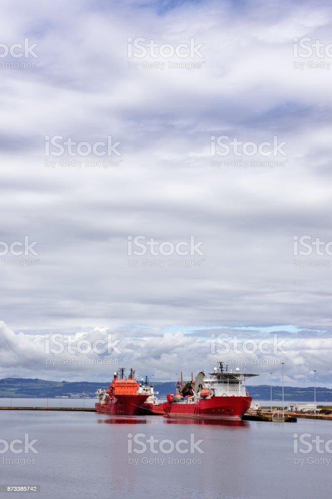 Cable laying ships,   Entrance Basin, Edinburgh Docks, Newhaven, Scotland stock photo