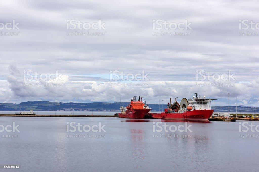 Cable laying ships,   Entrance Basin, Edinburgh, Scotland stock photo