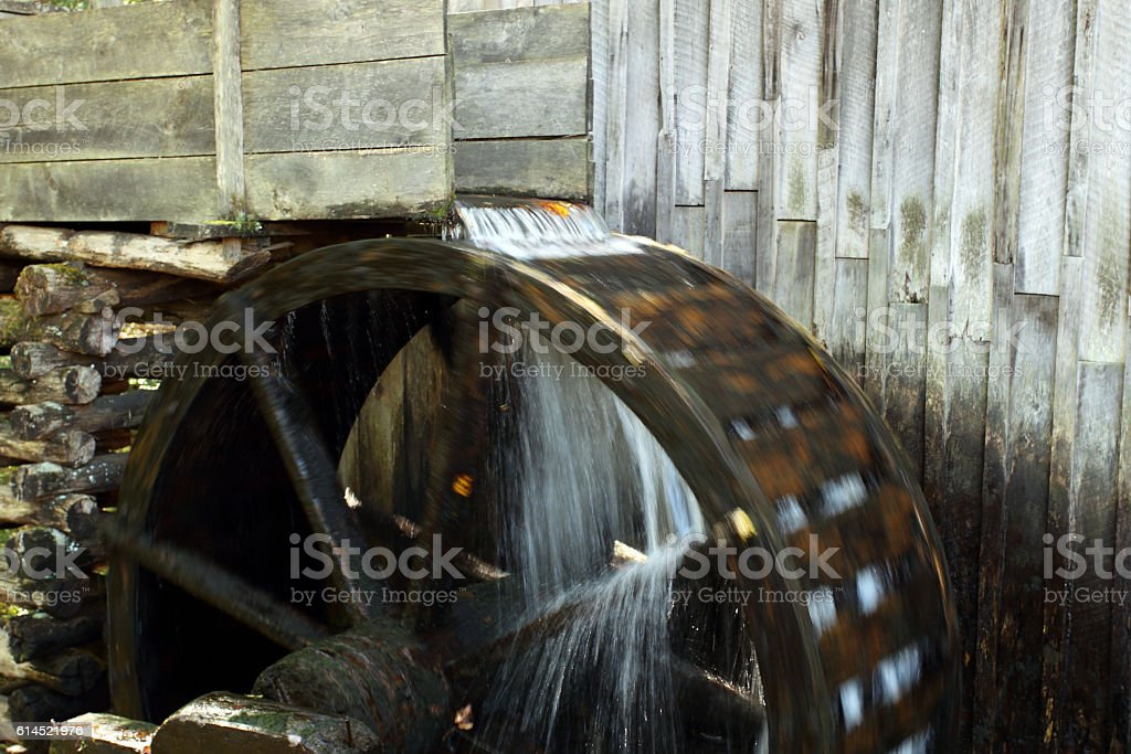 Cable Mill Water Wheel stock photo