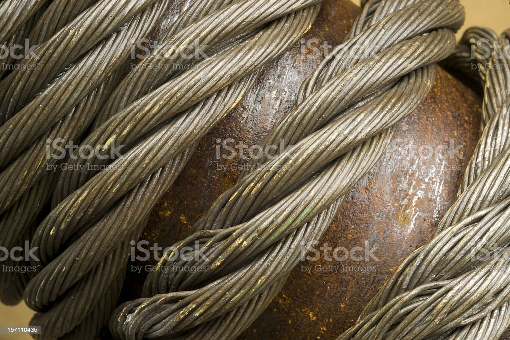 Cable on Boxcar Wrapped Around Rusty Tension Handle royalty-free stock photo