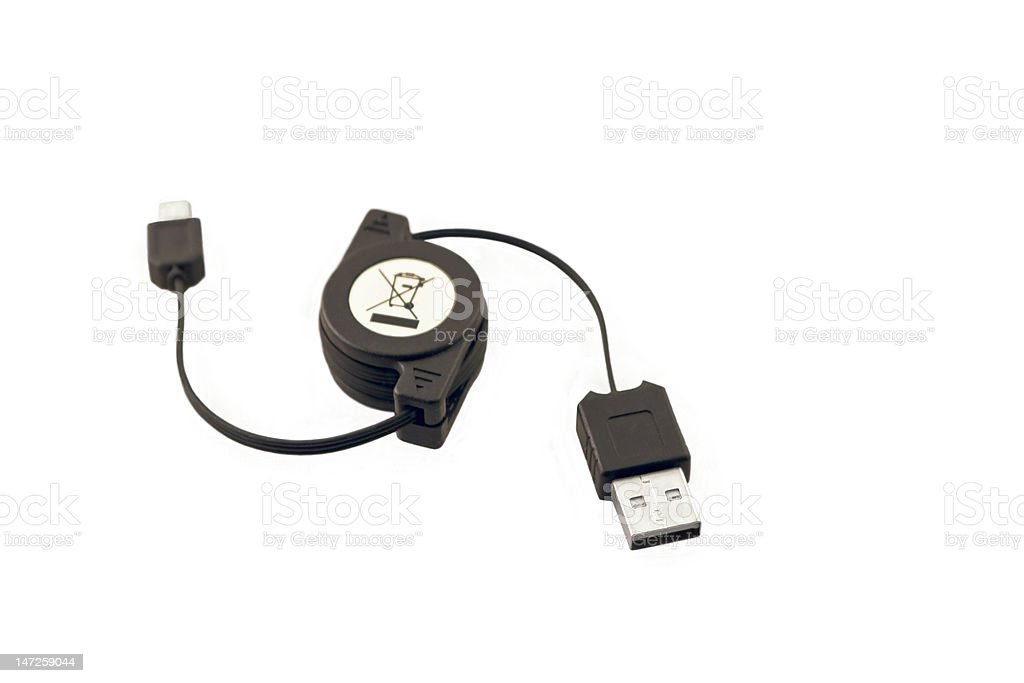 USB Cable partly extracted royalty-free stock photo