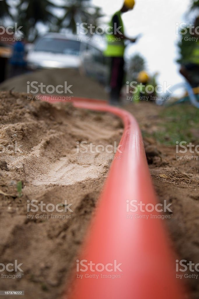 cable pipe being laid stock photo