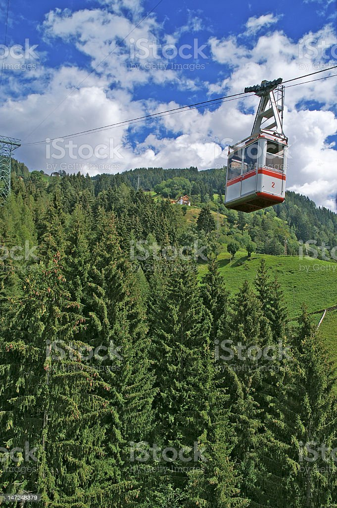 cable railway in the Alps royalty-free stock photo