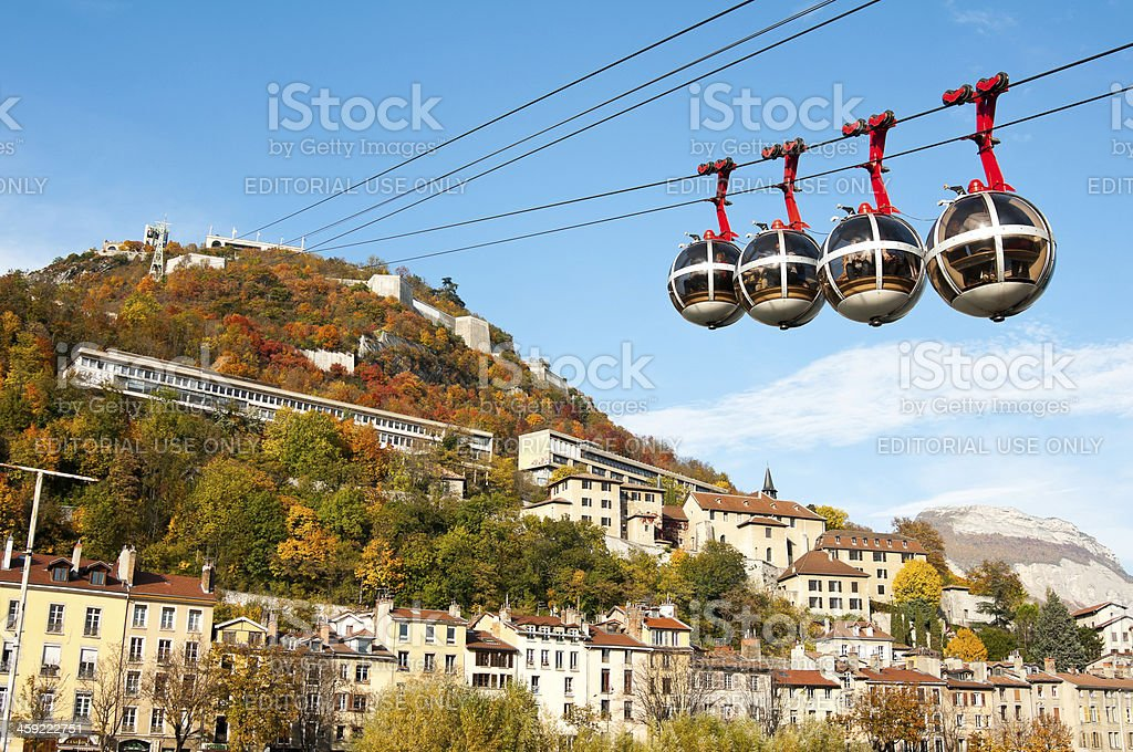 Cable railways in Grenoble, France stock photo