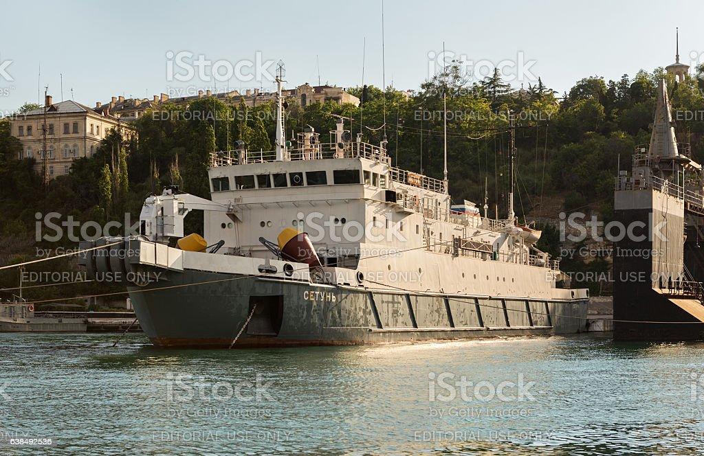 Cable ship Setun in the Bay Black Sea. stock photo