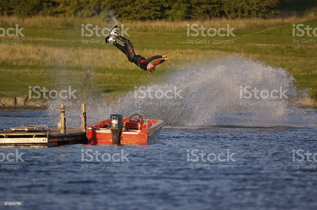 Cable Skiing, Rother Valley, Sheffield stock photo