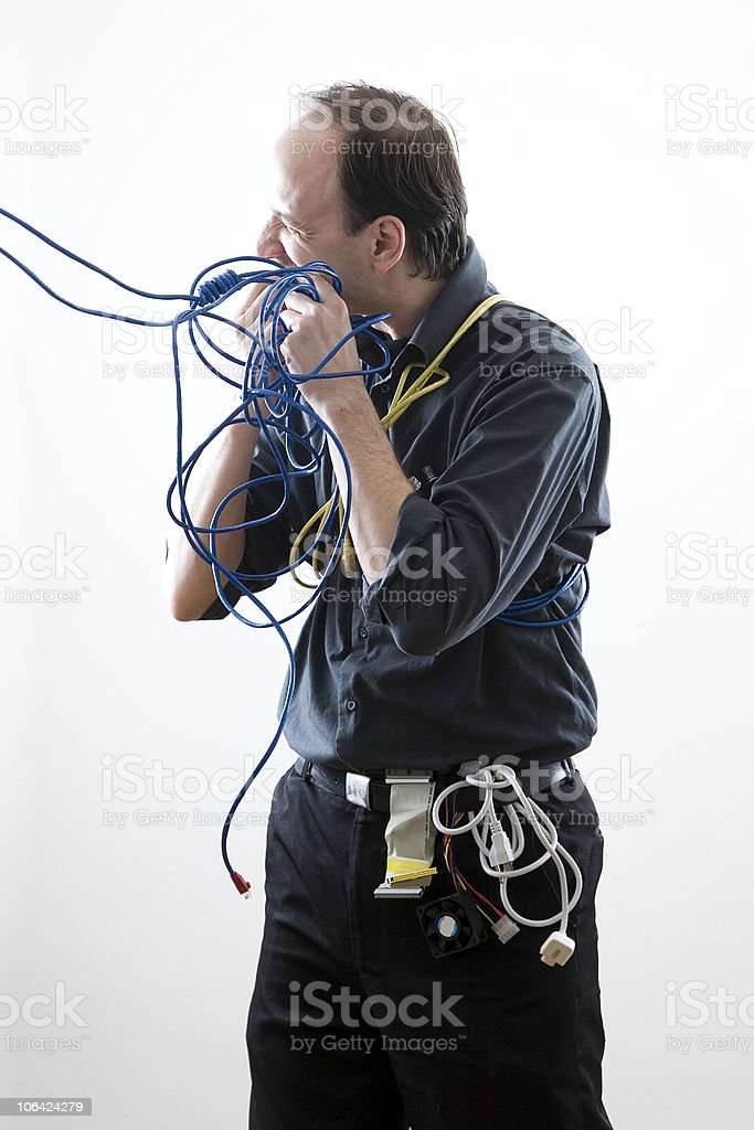Cable technician eating royalty-free stock photo