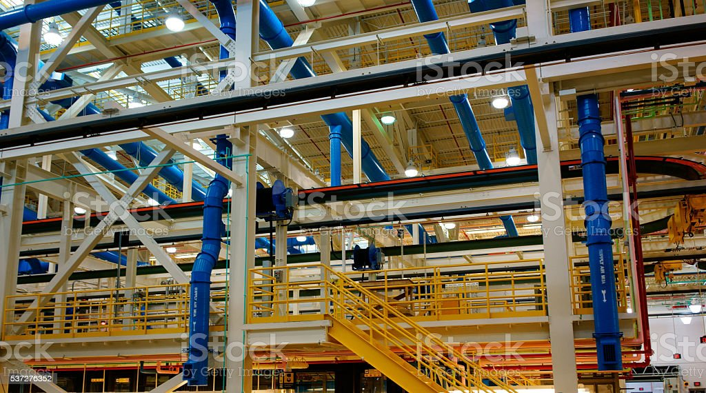 Cable tray and piping stock photo