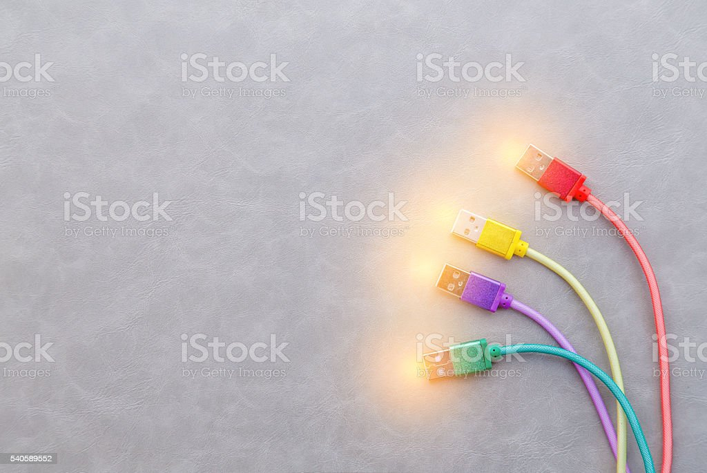 USB Cable with red cable yellow cable purple cable stock photo