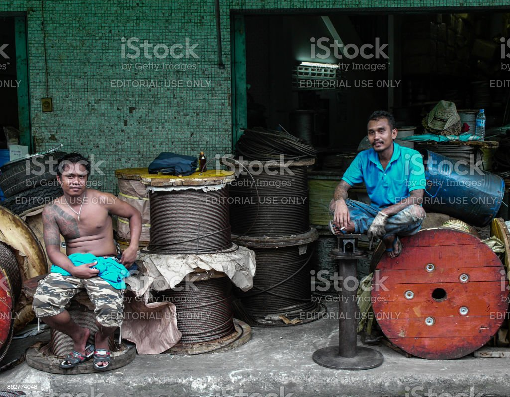 Cable Workers, Bangkok, Thailand stock photo