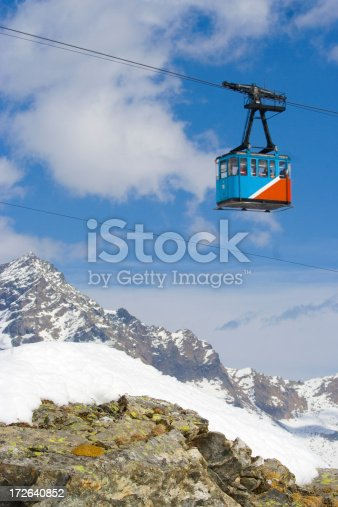 a cablecabin on the italian alps