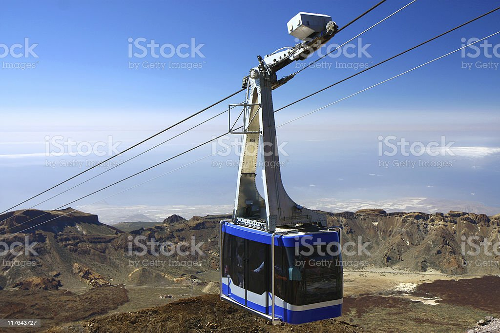 Cable-car going up to peak of Teide stock photo