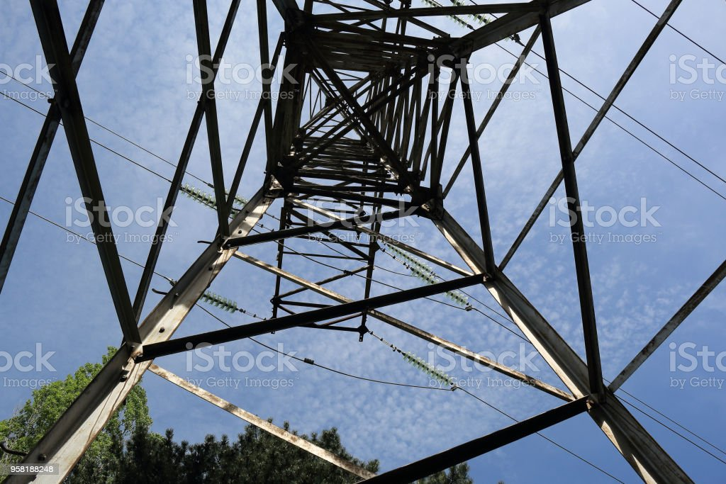 Cables and modular suspension insulators for overhead power line stock photo