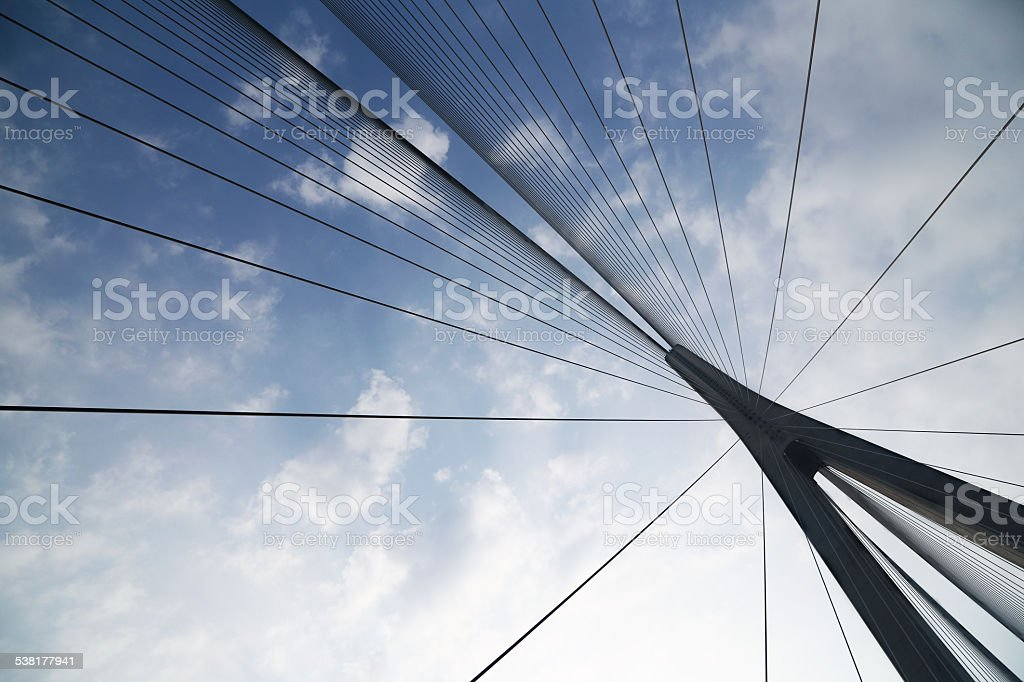 Cables and supports of bridge in china against blue sky stock photo