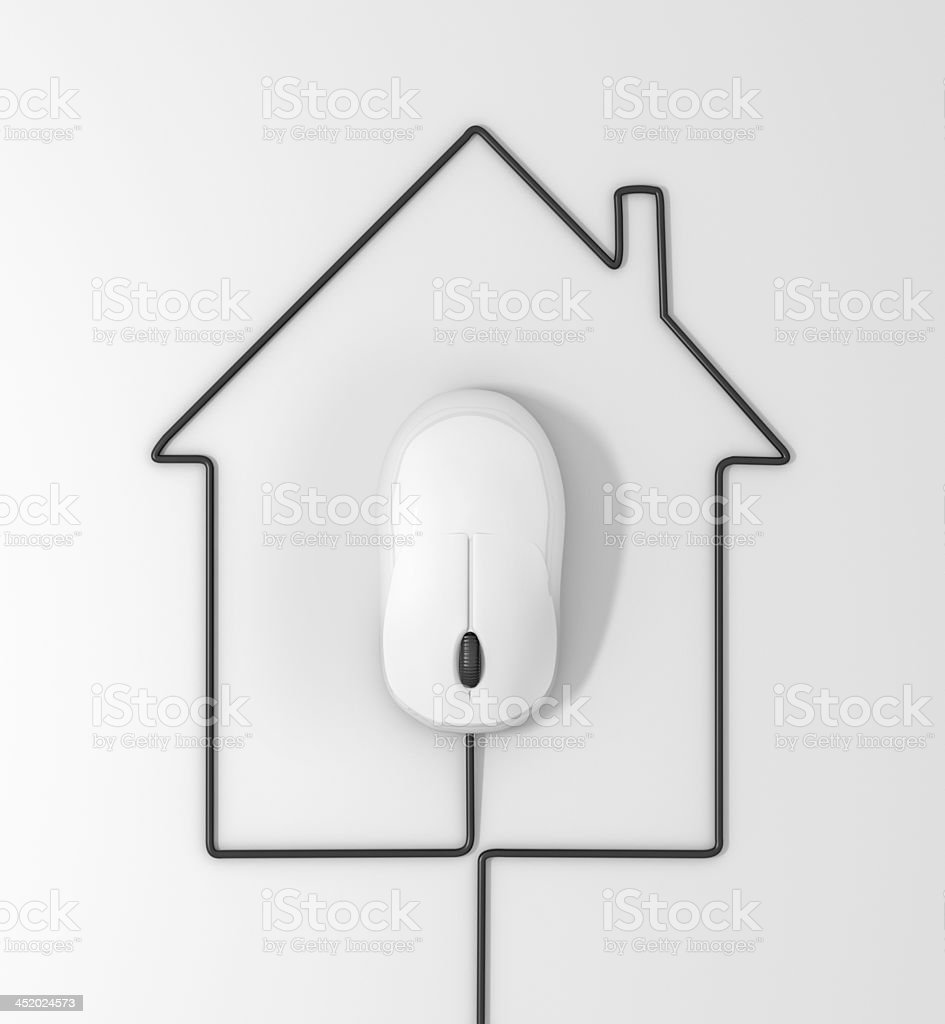 cables in form of house stock photo