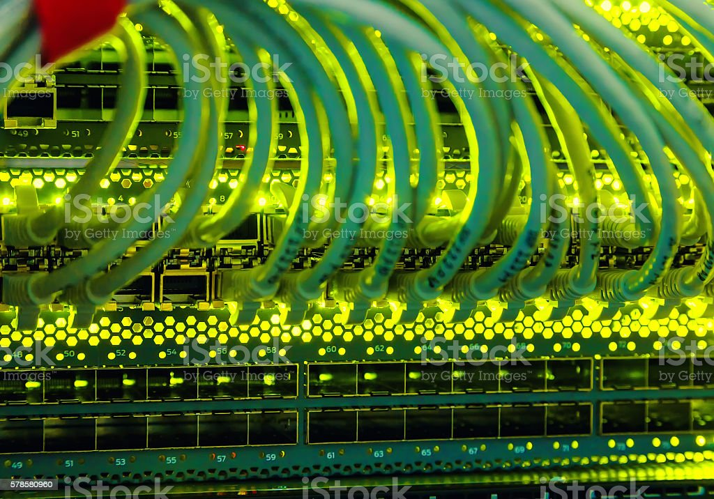 cables in switch date is  center of  array of transmitter stock photo