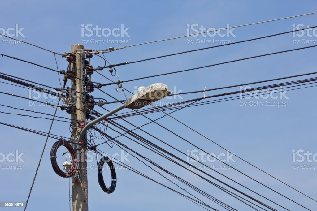 Cables On The Pole Stock Photo & More Pictures of Architectural ...