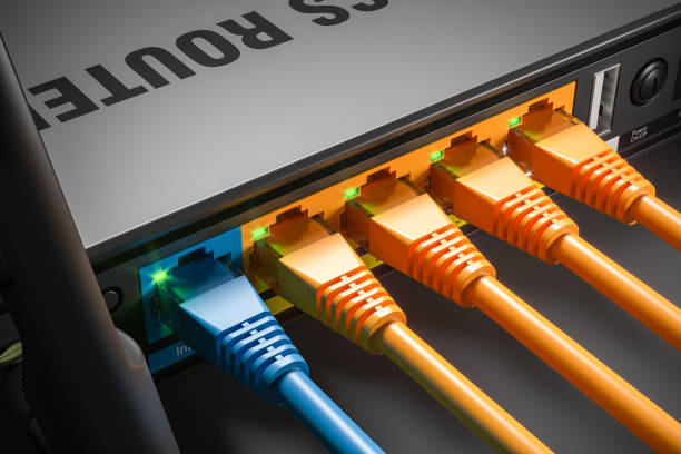 LAN-Kabel, die in Router-Ports im Home-Server gesteckt werden. Macro erschossen. 3d – Foto