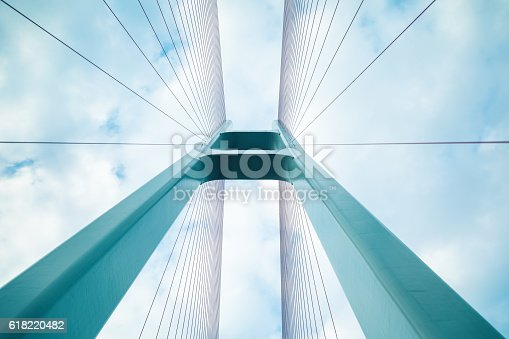 blue cable stayed bridge closeup, upward view