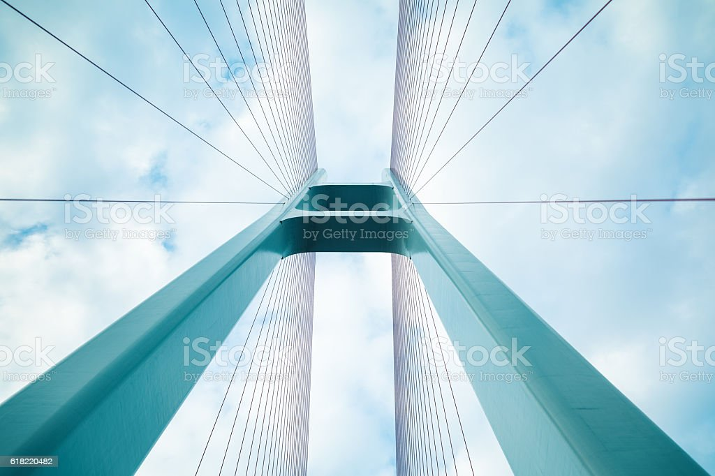 cable-stayed bridge closeup stock photo
