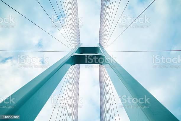 blue cable stayed bridge closeup, upward view