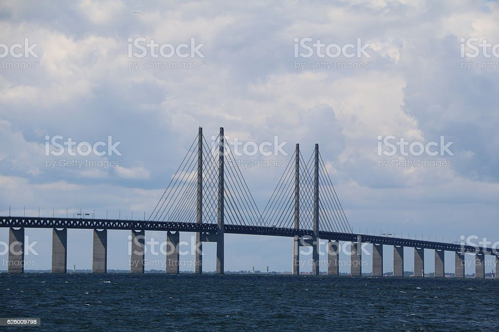 Cable-stayed bridge Öresund bridge between Malmö and Copenhagen Denmark Sweden stock photo