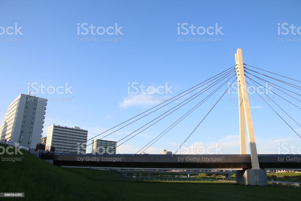 Cable-Styed Bridge in Blue sky royalty-free stock photo