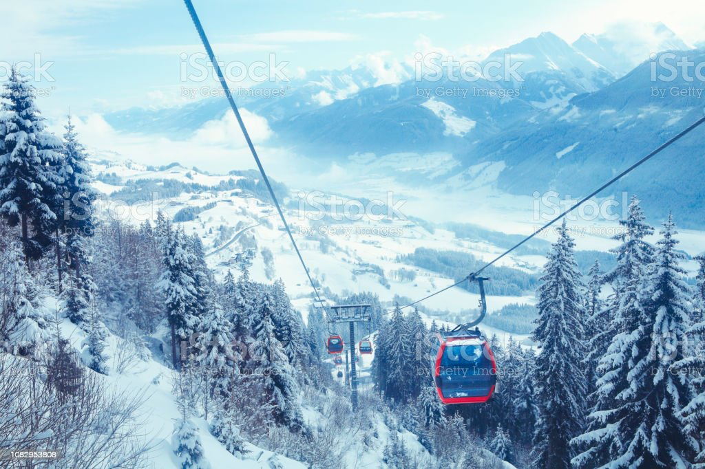 Cableway in Kitzbüheler Alpen mountains royalty-free stock photo